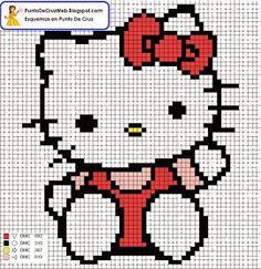 Punto De Cruz: Hello Kitty Tamaño Llavero para hacer en punto de cruz