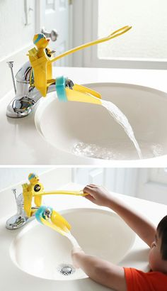 Aqueduck | yellow duck faucet extender // a clever add-on for washing little hands! #product_design