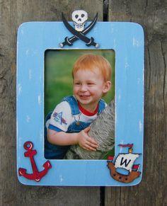 blue picture frame handmade pirate ship photos decoupaged photo frame Pirate theme photo frame