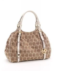 Michael Kors Large Bedford MK Logo Monogram Tote Beige Vanilla Leather Trim