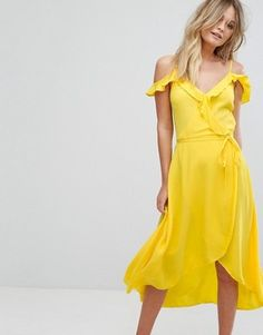 ASOS New Look Frill Wrap Midi Dress yellow bridesmaid ruffle off the shoulder cold shoulder bridesmaids dress New Look Midi Dress, Yellow Midi Dress, Yellow Gown, Dress Up, Wrap Dress, Going Out Dresses, Latest Dress, Trends, Latest Fashion Clothes