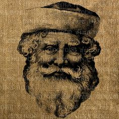 St. Nicholas image for fabric transfer onto Burlap - by Graphique on etsy.com