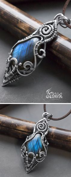 Gothic pendant // Gothic jewelry // Wire wrapped gothic silver pendant with blue labradorite