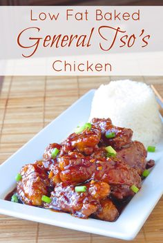 Low Fat Baked General Tso Chicken - a favorite Chinese take out dish that you can make even better at home and with less fat than the deep fried version. This recipe has received many great reviews from readers who have tried it. #lowfat, #healthy