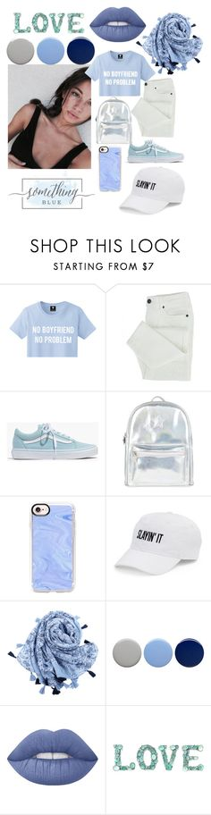 """""""Something Blue look by Rebecca"""" by rebecca0rebe ❤ liked on Polyvore featuring Madewell, Accessorize, Casetify, SO, Burberry and Lime Crime"""