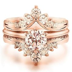 Gorgeous rose gold vintage/antique morganite engagement ring with diamond ring enhancer! #diamonds