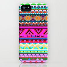 Ele Ce De iPhone Case by Maximilian San - $35.00  Aztec Pattern, Neon, Fluo, Tribal, Love, India, Multicolor