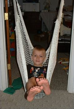 Easy sensory diet activites-this looks much easier than swinging Nora in a blanket!