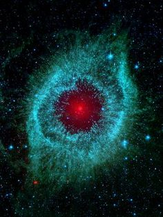 ~~Dust and the Helix Nebula ~ Dust makes this cosmic eye look red. The eerie Spitzer Space Telescope image shows infrared radiation from the well-studied Helix Nebula (NGC 7293) a mere 700 light-years away in the constellation Aquarius   Nasa.gov~~