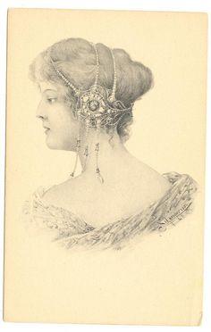 A s Schweiber Art Nouveau Woman 1902 Postcard | eBay