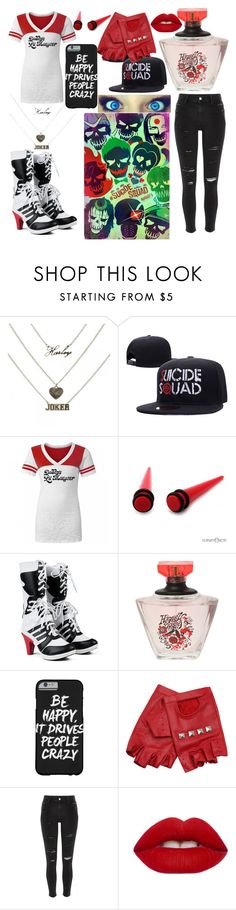 """""""Going to see suicidé squad"""" by littlericanbaby ❤ liked on Polyvore featuring ASOS, River Island and Lime Crime"""