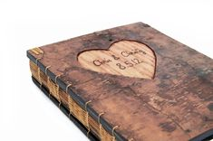 Custom Made Guest Book With Engraved Tree Bark Cover