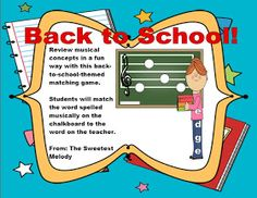 """The Sweetest Melody: """"Back to School"""" Treble Clef Matching Game"""