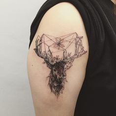 deer + geometry #deertattoo #geometrytattoo #blackwork #blacktattoo #tattoo #tattoos #ink #tattooisthongdam #사슴타투 #기하학타투 #타투 #타투이스트홍담