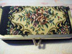 Vintage Needlepoint Makeup Bag, Vintage Cosmetic Bag, Vintage Purse, Vintage Bag by vintagecitypast on Etsy