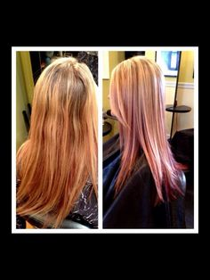 Blond high lights and red/copper low lights -haircut with long textured layers:-) by Megan @ voila' hair and day spa