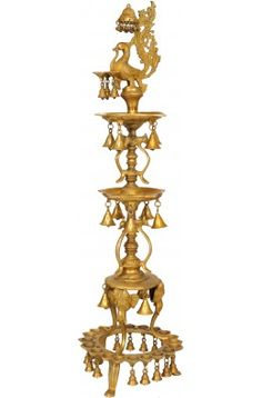 Large Size Peacock Lamp with Hanging Bells and Ghungaroos