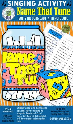 "Primary Music Singing Activity, ""Name That Tune"" Guess the Song Game with note cube, Primary chorist Primary Songs, Primary Singing Time, Lds Primary, Singing Lessons, Singing Tips, Family Home Evening, Family Night, Name That Tune, Primary Chorister"