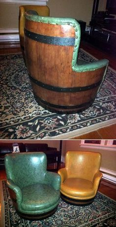 wine barrel bar chairs! sweet...