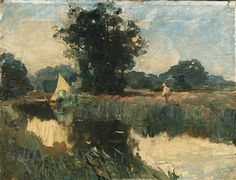 Sir Alfred James Munnings - Fishing on the River,...