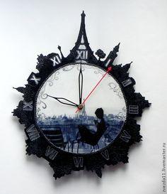 Купить Вечернее кафе - черный, часы настенные, часы декупаж, Париж, парижанка