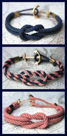 Jewelry Making Bracelets a blissful dream: DIY ~ nautical rope bracelet - Adjustable Size Genuine Leather Strap Hook Nautical Bracelet, Nautical Rope, Nautical Theme, Nautical Anchor, Baseball Bracelet, Nautical Style, Diy Nautical Jewelry, Nautical Baptism, Nautical Sayings