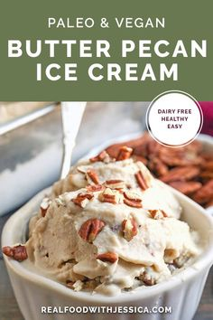 This Paleo Butter Pecan Ice Cream is rich, sweet and packed with buttery pecans…. This Paleo Butter Pecan Ice Cream is rich, sweet and packed with buttery pecans. The perfect summer treat! Dairy free, gluten free, and naturally sweetened. Paleo Ice Cream, Peanut Butter Ice Cream, Chocolate Chip Ice Cream, Coconut Ice Cream, Ice Cream Recipes, Cream Butter, Homemade Healthy Ice Cream, Butter Pecan Ice Cream Recipe, Vitamix Ice Cream
