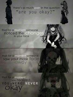 """Vocaloid - Hatsune Miku from """"Karakuri Pierrot"""" Hay tanto dolor en la pregunta, ¿estás bien? que por un momento alguien se dio cuenta de los cambios en su cara que por un momento alguien vio su máscara desvanecer que por un momento te dabas cuenta nunca estuviste bien."""