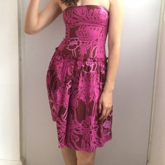 """Marimekko Fuchsia Purple Strapless Dress Size 2 Preowned and in good condition Marimekko Fuchsia Purple Strapless Dress Size 2. It measures 29"""" long. Beautiful back which has stretching. Please look at pictures for better reference. Happy shopping!!! Marimekko Dresses Strapless"""