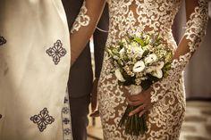orthodox wedding antiparos  couple groom bride greek  bridal bouquet chamomille