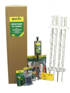 Electric Fencing Starter Kit - Premium 1 Posts Will fence approx Consists of 1 x energiser and stand 1 x Compact polytape x 20 x Heavy Duty polyposts 2 x Polytape gate sets 1 x Fence Tester 3 x Corner Insuators 2 x Ring Insulators 1 x Warning Sign Electric Fencing, 200m, Warning Signs, Starter Kit, Insulation, Homestead, Fence, Gate, Compact