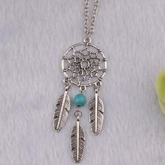 Boho Silver Dreamcatcher 3 Feather Necklace |                             Boho Silver Dreamcatcher 3 Feather NecklaceMaterial: Zinc AlloyChain Typ | Primary View | Sassy Posh