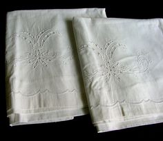 Pair Antique Pillowcases Cut Work & Embroidery c.1910 by chalcroft