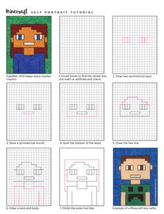 Minecraft Selfies by Art Projects for Kids Easy Drawings For Kids, Drawing For Kids, Art For Kids, Minecraft Drawings, Minecraft Art, Third Grade Art, Fun Classroom Activities, Project Based Learning, Science Art