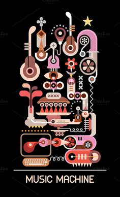 Music Machine vector illustration by dan on Creative Market