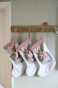 Baby christmas stocking - Pre Order for 1 Liberty Patchwork stocking with baby bunny – Baby christmas stocking Baby Christmas Stocking, Unique Christmas Stockings, Baby Stocking, Xmas Stockings, Christmas Sewing, Handmade Christmas, Christmas Ornaments, Christmas Crafts, Stocking Ideas