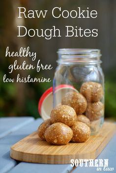These Healthy Raw Cookie Dough Bites tastes incredibly decadent but they are secretly good for you! Made to be suitable for those with histamine intolerances, this low histamine snack recipe is also gluten free, vegan, refined sugar free, peanut free, egg free and delicious!
