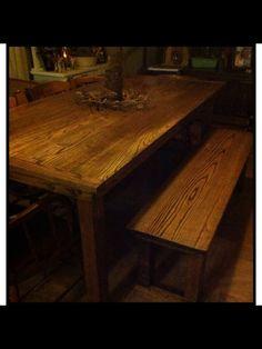 #farmtable #bench #oakfarmtable #darkwalnutstain Handmade by Doug Pence