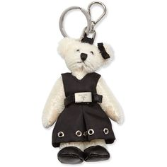 Prada Marlene Teddy Bear Charm for Handbag ($330) ❤ liked on Polyvore featuring accessories, accessories key chains, prada key ring, ring key chain, prada, prada key chain and buckle belt