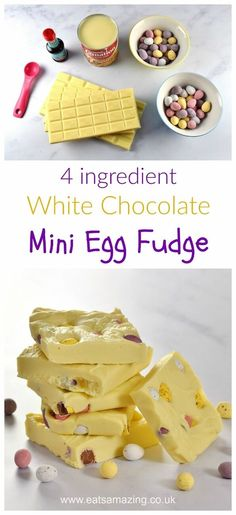 Mini Egg White Chocolate Fudge Recipe - just 4 ingredients and 5 minutes to prepare this easy chocolate fudge - fun homemade gift idea for Easter from Eats Amazing UK