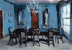 Art Print French Interior Food Blue Dining Room 5x7 on 8x10 - Blue Dining Room by David Lloyd