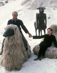 francois-xavier and claude lalanne: the two with one or two of their creations.