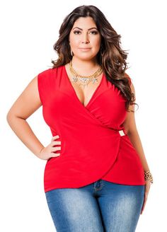 Plus Size Faux Wrap Shirt - Plus Size Fashion for Women