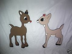 Rudolph and clarice 2 piece set christmas yard art decorations..