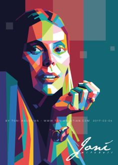 Joni Mitchell in colorful polygonal pop-art vector by Toni Agustian. Made in Corel Draw & Adobe Illustrator in 2017-02-04.    See Also: