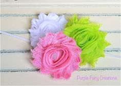 Triple Shabby Chic Chiffon Flower Headband by PurpleFairyCreations, $6.00