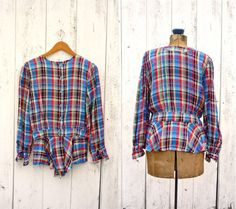 Make from men's shirt - buttons up back.