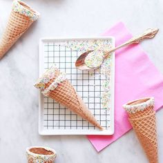 On the #hooraymag #blog this arvo is a recipe for #Sprinkle Dipped #IceCream Cones. Because we all know that the best way to eat ice cream is atop a sweet cone! Photography + Styling by @shopbicyclette. Post developed in collaboration with @randomactsofpastel x