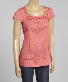 Love this Coral Crocheted Cap-Sleeve Top by Simply Irresistible on #zulily! #zulilyfinds