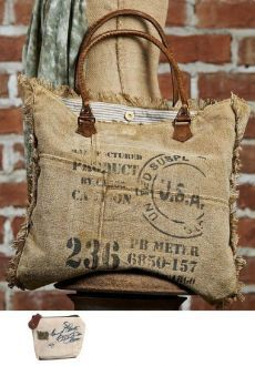 Mona B Vintage Ink Stamp Weekender Upcycled Canvas Bag with Coin Purse Sacs Tote Bags, Canvas Tote Bags, Handmade Purses, Handmade Handbags, Handmade Bracelets, My Bags, Purses And Bags, Coin Purses, Coffee Bean Bags